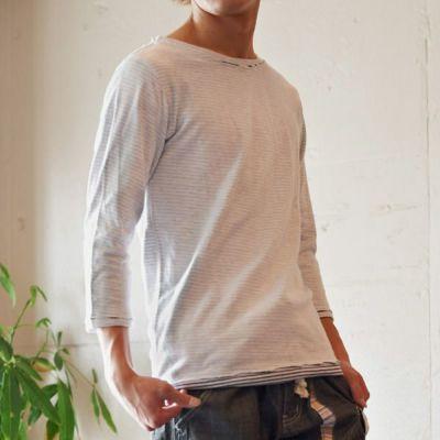 接結鹿の子杢C/Nカットオフ7分袖Tシャツ(ホワイト)☆