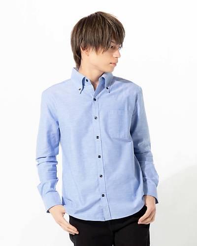 日本製オックスフォードボタンダウンシャツ(ブルー)
