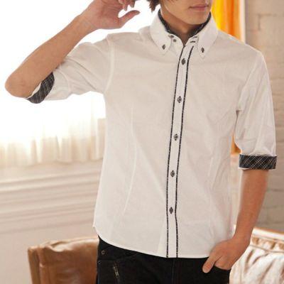 チェックライン七分袖シャツ(ホワイト)▽