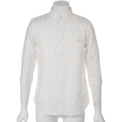 製品染めボダンダウンシャツ7分袖(オフホワイト)