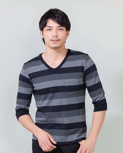 【1品から送料無料】マルチボーダー七分袖Tシャツ(ブラック)