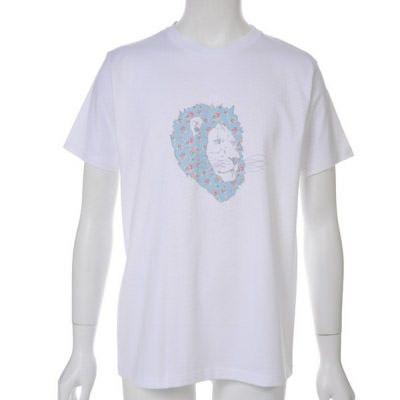 お花模様ライオンプリントTシャツ(ホワイト)