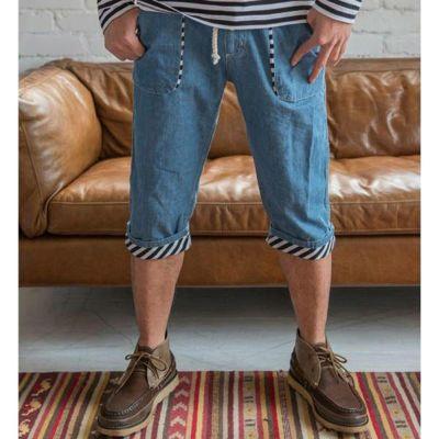 裾のウラ時がポイント!シャンブレークロップドパンツ(ブルー)