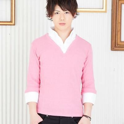 七分袖フェイクレイヤードシャツ(ピンク)★