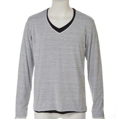 トリッキー杢レイヤード長袖Tシャツ(杢ホワイト)