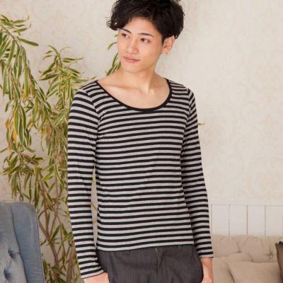 長袖ボートネックTシャツ(グレー×ブラック)