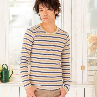 フライスUネック長袖Tシャツ(マスタード×ブルー)