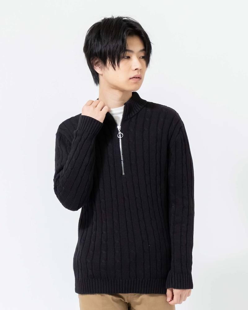 綿100%ハーフZIPケーブルスタンドカラーセーター(ブラック)