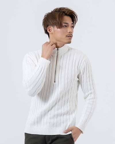 綿100%ハーフZIPケーブルスタンドカラーセーター(オフホワイト)