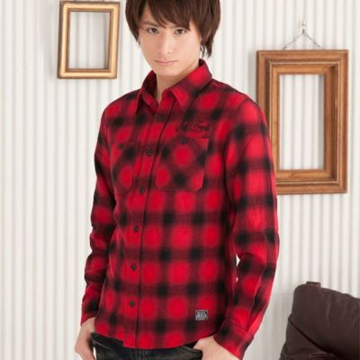 オンブレチェック刺繍入りシャツ(レッド)