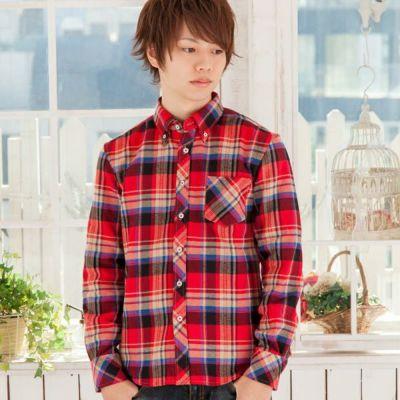 チェック長袖ボタンダウンシャツ(レッド)◆