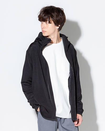 カチオン染めジップパーカー(ブラック)