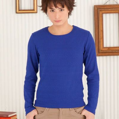 ジャガードロングTシャツ(ブルー)