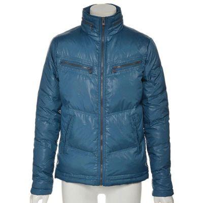 収納フード付きスタンド襟ダウンジャケット(ブルー)