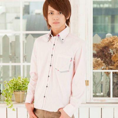 2枚衿フロントチェック柄ボタンダウンシャツ(ピンク)◆