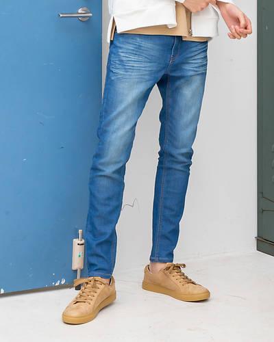 カットデニム5ポケットパンツ(ブルー)
