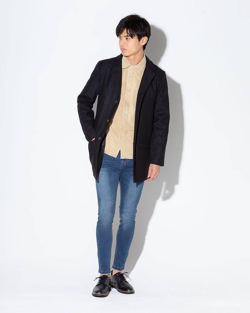 チェスターコート×長袖シャツ×長袖Tシャツ×パンツ(4点セット)