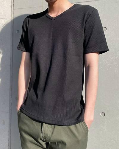 ワッフルVネック半袖Tシャツ(ブラック)