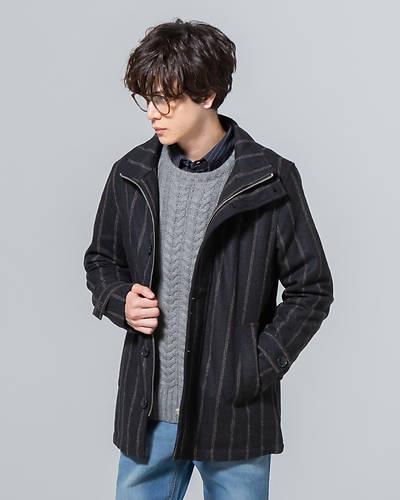 ウールストライプスタンドジャケット(ブラック)