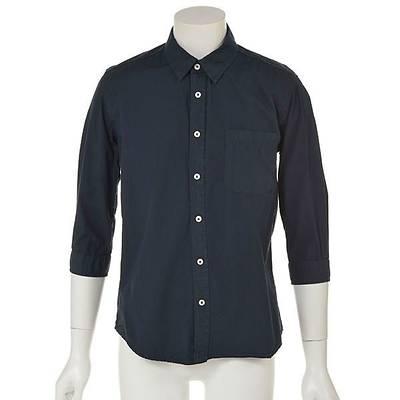 7分袖ブロードシャツ(ネイビー)