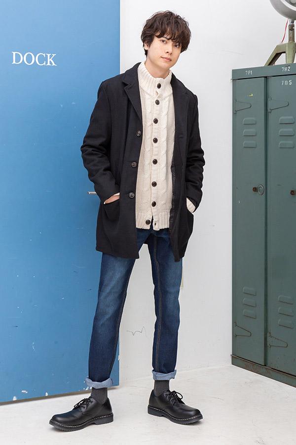 チェスターコート×ニット×長袖Tシャツ×パンツ(4点セット)