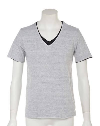 トリッキー杢レイヤード半袖Tシャツ(ホワイト)