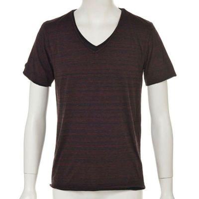 トリッキー杢レイヤード半袖Tシャツ(ワイン)