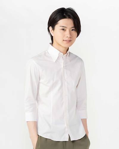 日本製デュエ七分袖ボタンシャツ(ピンク)