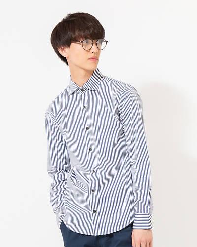 日本製ブロードストライプワイドカラーシャツ(ブルー)
