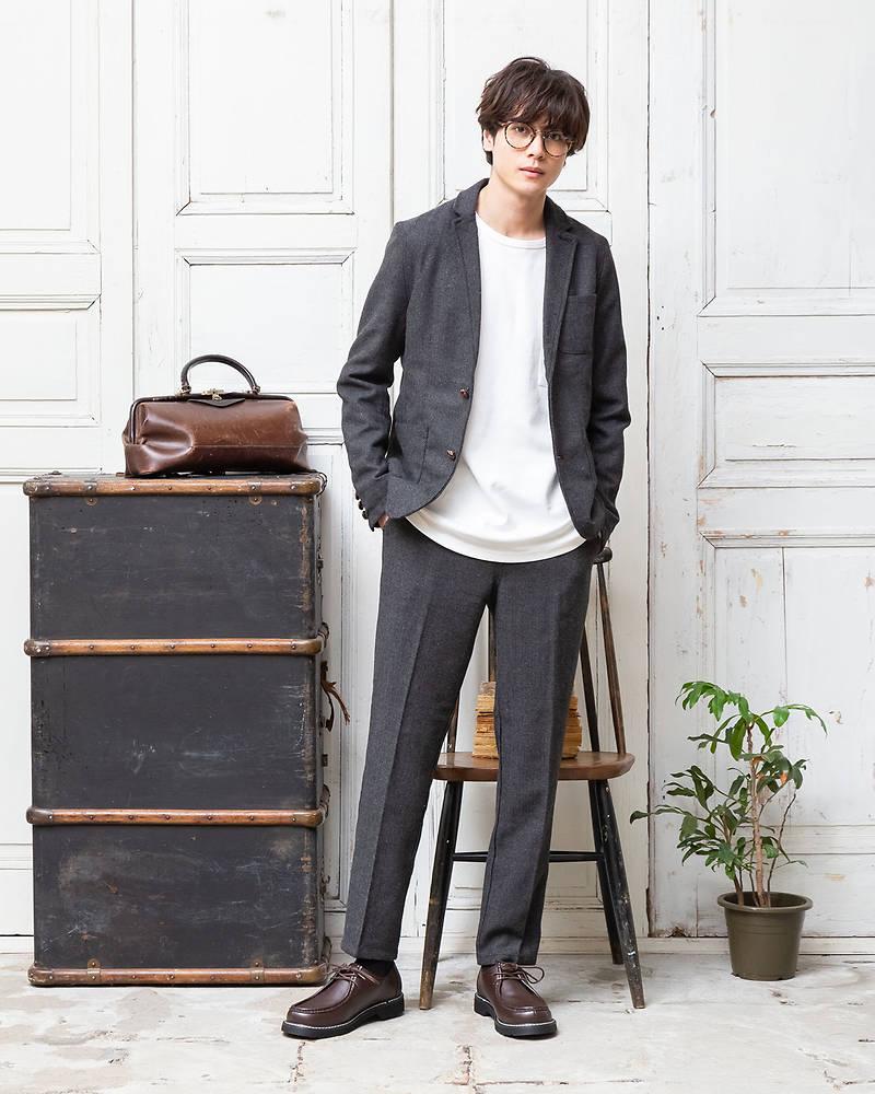 テーラードジャケット×長袖Tシャツ×パンツ(3点セット)