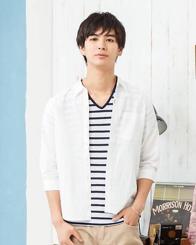 【1品から送料無料】七分袖シャツ+半袖ボーダーTシャツアンサンブル(2点セット)(ホワイト)