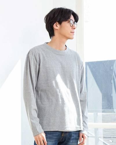 長袖クルーネックTシャツ+半袖Tシャツアンサンブル(2点セット)(グレー)