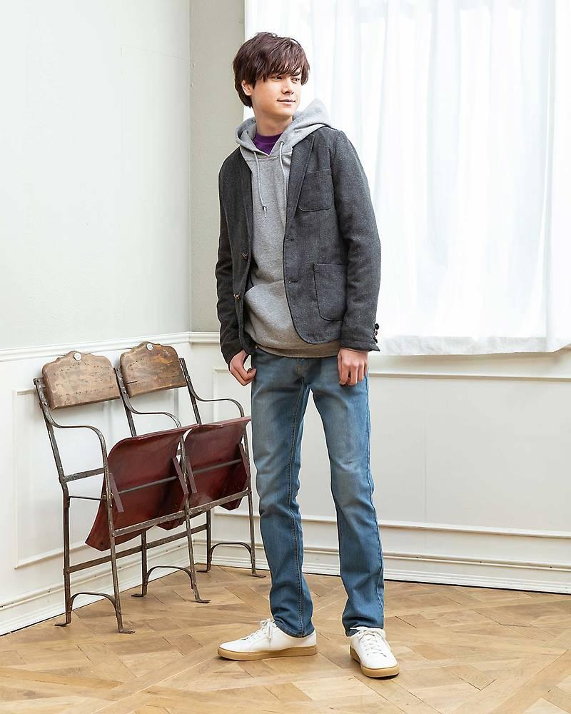 テーラードジャケット×プルパーカー×長袖Tシャツ×パンツ(4点セット)