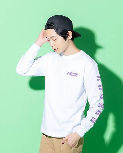 クルーネックスリーププリントTシャツ(ホワイト)
