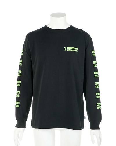 クルーネックスリーププリントTシャツ(ブラック)