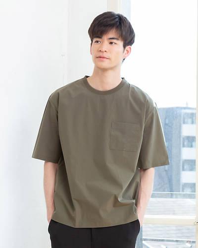 ナイロンストレッチ半袖Tシャツ(カーキ)
