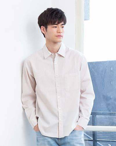 レギュラーカラー長袖シャツ(ライトベージュ)