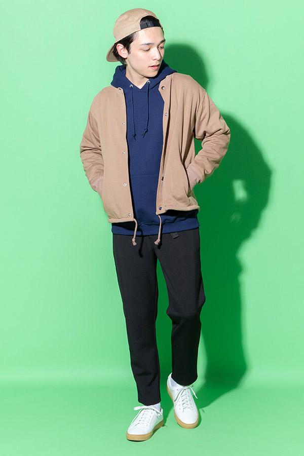 スタジャン×プルパーカー×半袖Tシャツ×パンツ(4点セット)