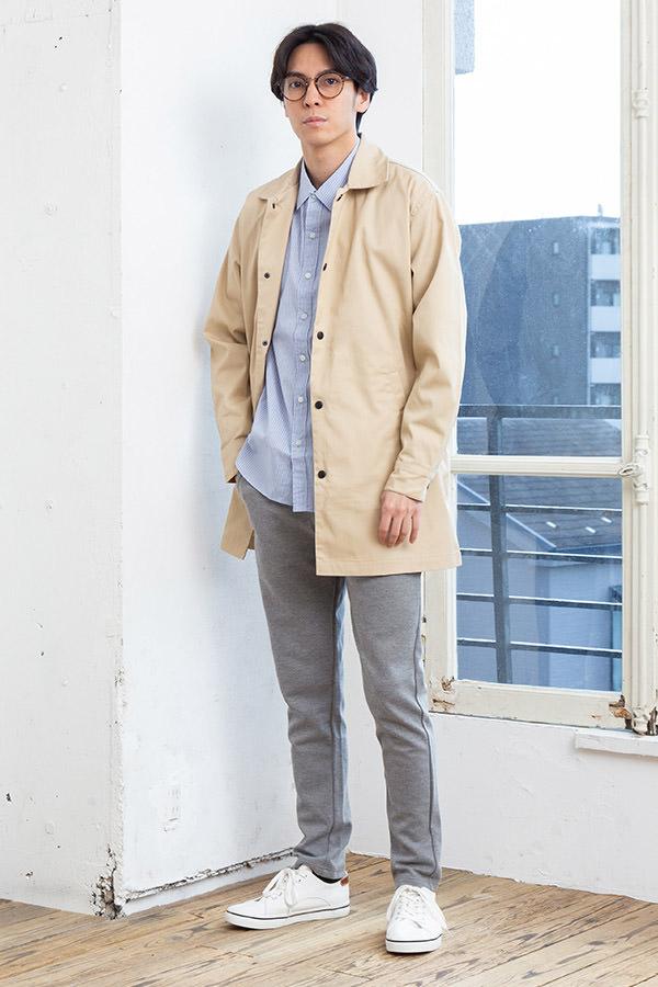 ロングコーチジャケット×長袖シャツ×半袖Tシャツ×パンツ(4点セット)