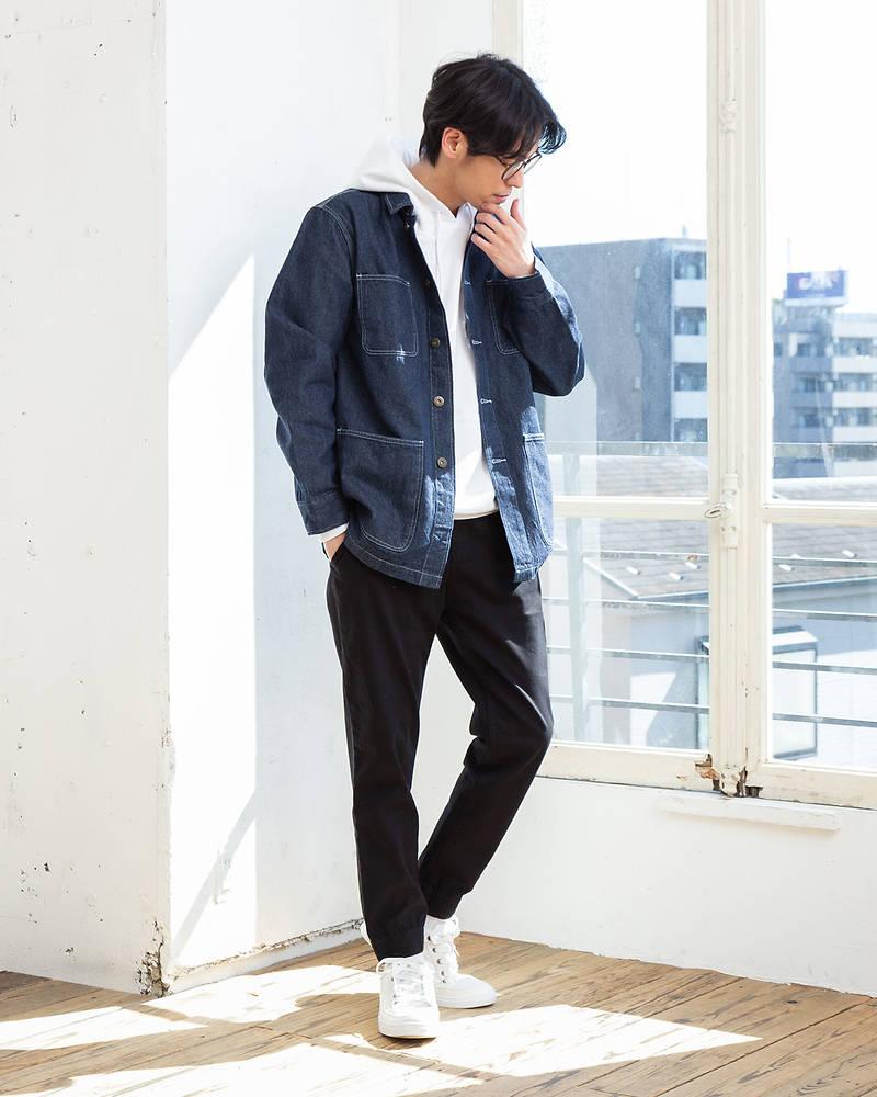 デニムカバーオール×プルパーカー×半袖Tシャツ×パンツ(4点セット)