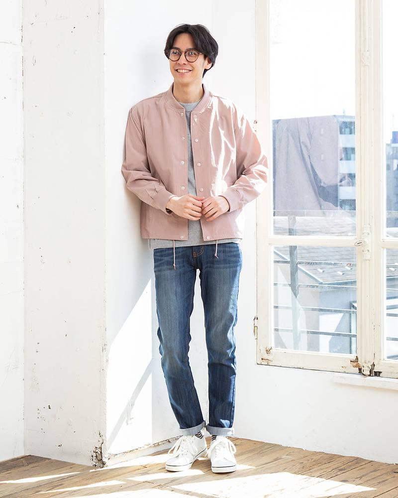 ジャケット×長袖クルーネックTシャツ+半袖Tシャツ×パンツ(3点セット)