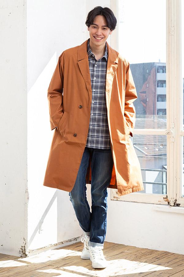 コート×長袖シャツ×半袖Tシャツ×パンツ(4点セット)