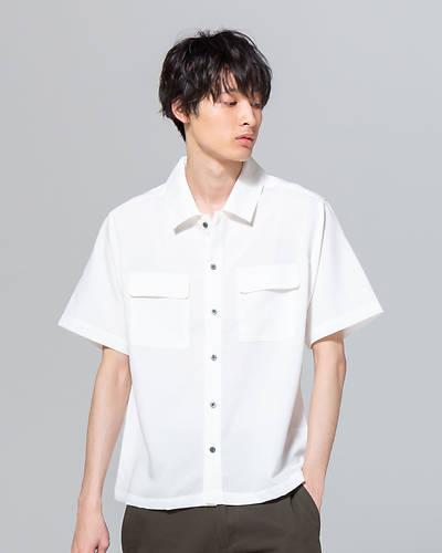 ポリトロ両ポケ半袖シャツ(ホワイト)