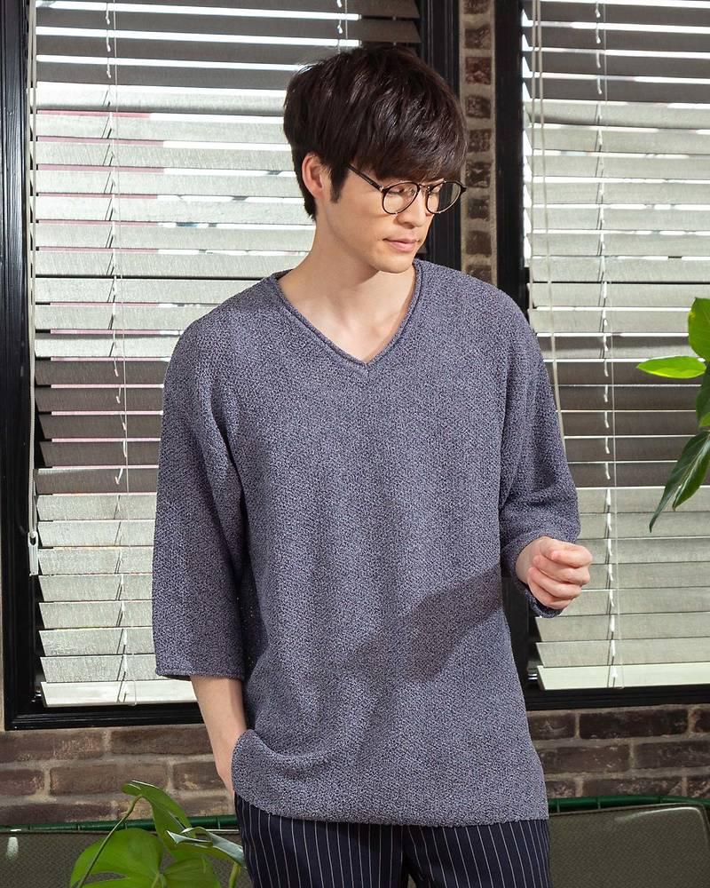 半袖BIGニットVネックTシャツ(杢ネイビー)