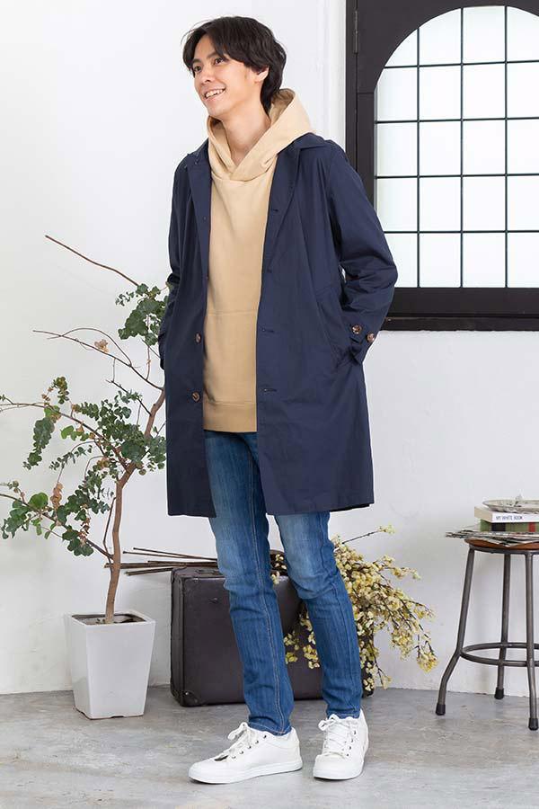 コート×プルパーカー×半袖Tシャツ×パンツ(4点セット)