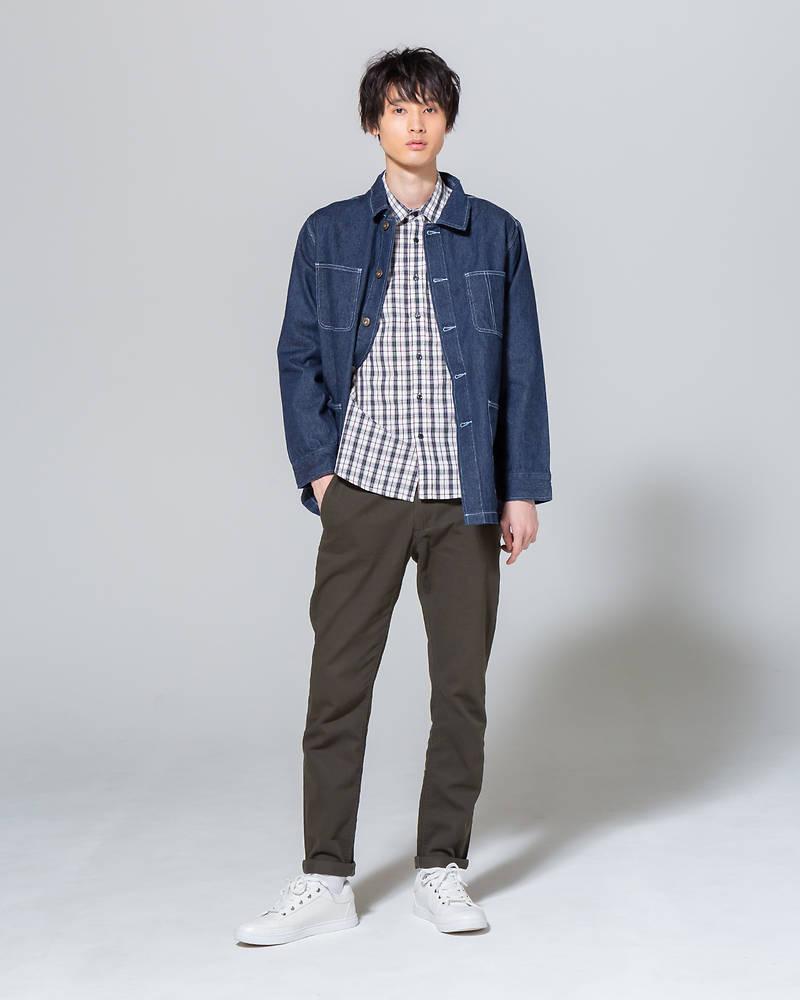デニムカバーオール×長袖シャツ×半袖Tシャツ×パンツ(4点セット)