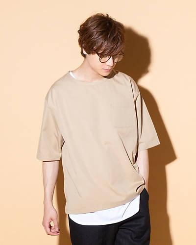 TR素材Tシャツ+タンクトップアンサンブル(2点セット)(ベージュ)