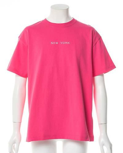 エンブロイダリーワイドフィットTシャツ(ピンク)