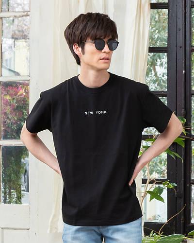 エンブロイダリーワイドフィットTシャツ(ブラック)