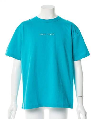 エンブロイダリーワイドフィットTシャツ(ブルー)